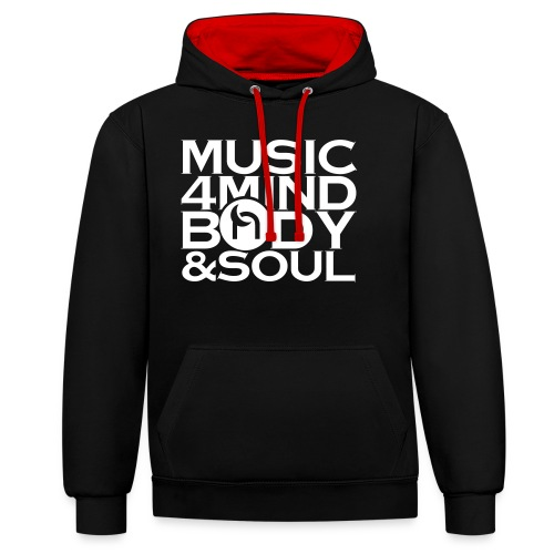 Music 4 Mind, Body & Soul White - Contrast Colour Hoodie