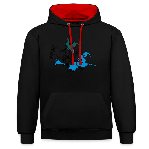 Witches on broomsticks Men's T-Shirt - Contrast Colour Hoodie