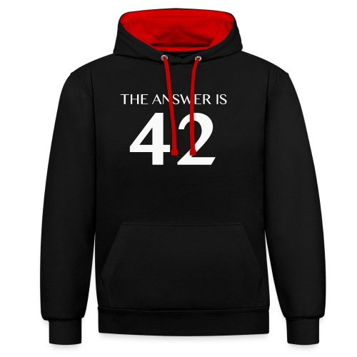 The Answer is 42 White - Contrast Colour Hoodie