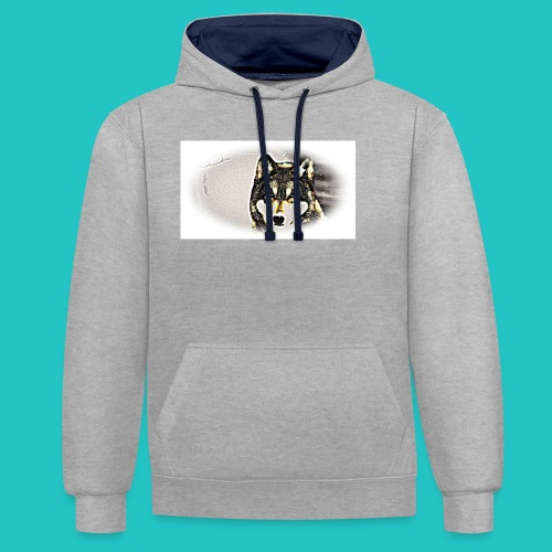 Bluza Wilk - Bluza z kapturem z kontrastowymi elementami