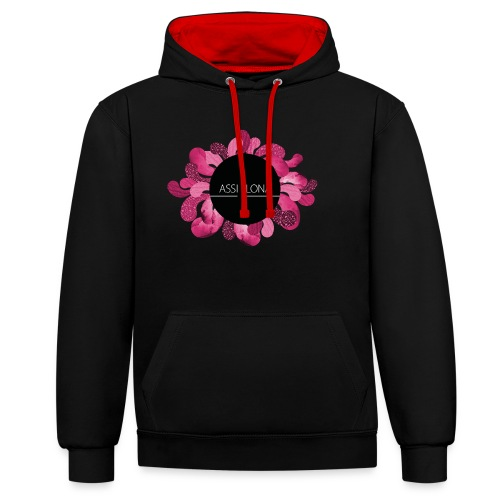 Naisten t-paita punaisella logolla - Kontrastihuppari