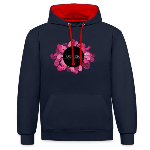 Naisten huppari punaisella logolla - Kontrastihuppari