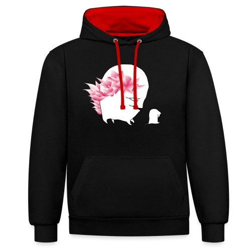 sad cat, with wild hair - Kontrast-Hoodie