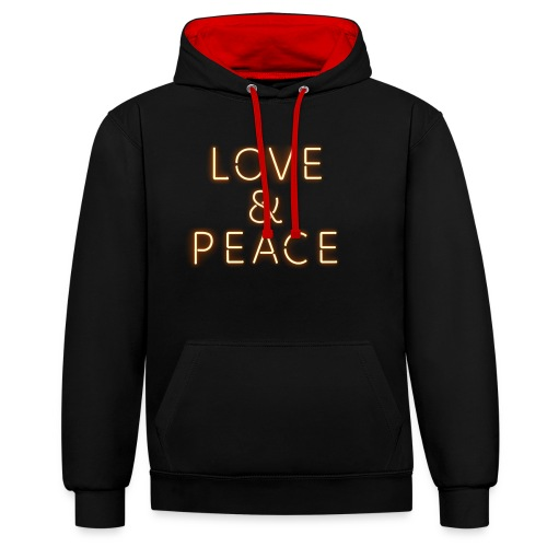 Love And Peace Neon - Kontrast-Hoodie
