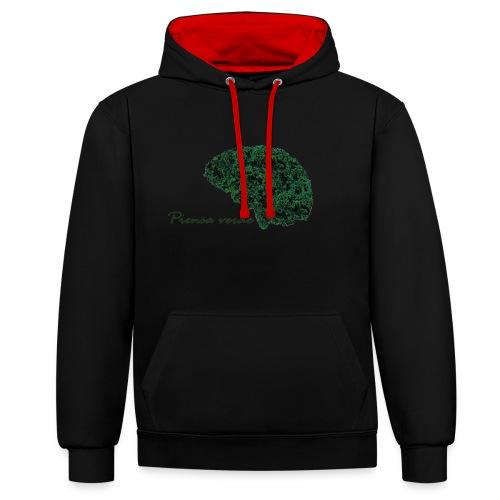 Piensa verde - Sudadera con capucha en contraste