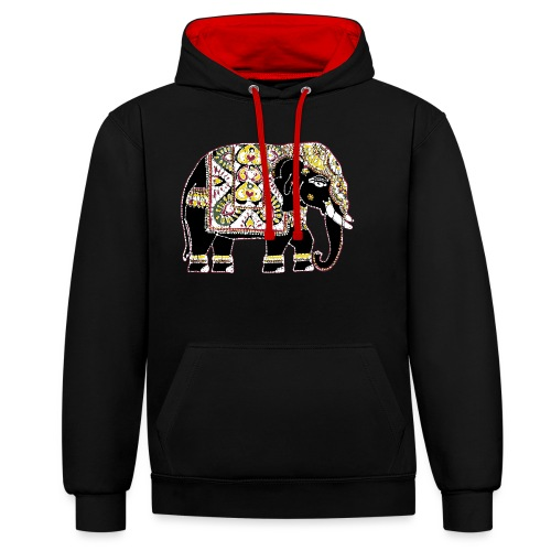 Indian elephant for luck - Contrast Colour Hoodie