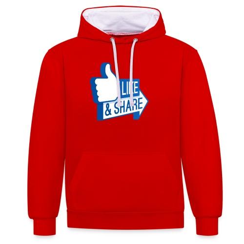 Like & Share (Facebook) - Felpa con cappuccio bicromatica