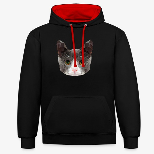 Triangle Cat - Contrast Colour Hoodie