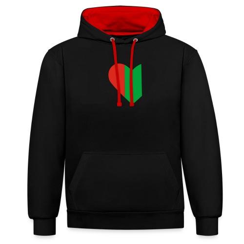 hartjeroodzwartgroen - Contrast hoodie