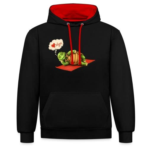 Love-Yoga Turtle - Kontrast-Hoodie