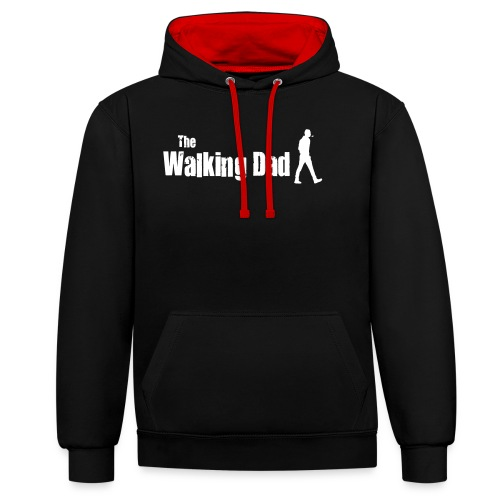 the walking dad white text on black - Contrast Colour Hoodie