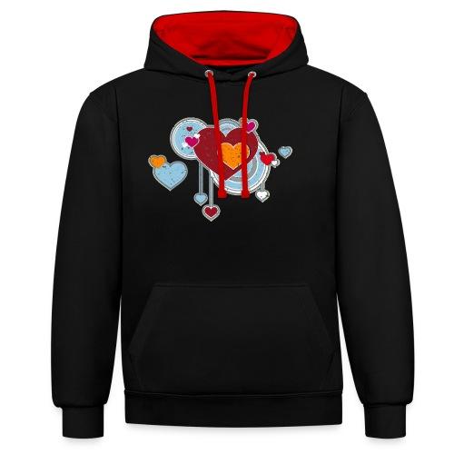 Liebe love Herzen hearts retro grunge Valentinstag - Contrast Colour Hoodie