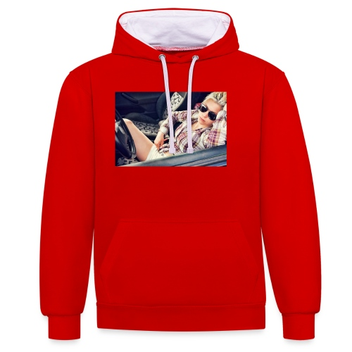 Cool woman in car - Contrast Colour Hoodie