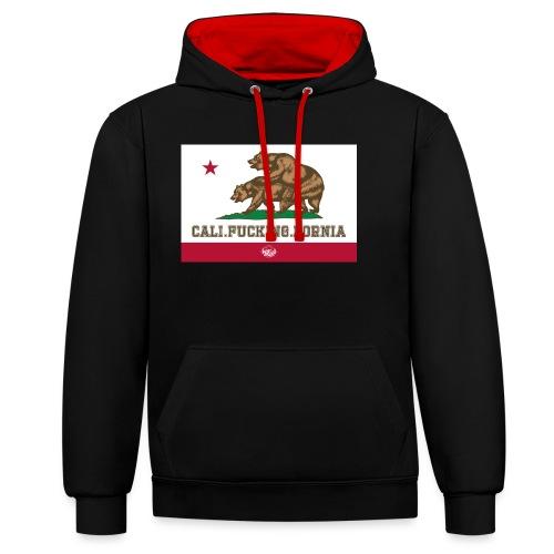 California, Californiano, Fuck, Orso - Felpa con cappuccio bicromatica