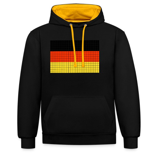 german flag.png - Felpa con cappuccio bicromatica