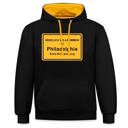 Ortsschild Philadelphia - Kontrast-Hoodie