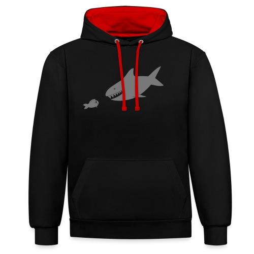 Kleiner Fisch + Hai / dunkler Hintergrund - Kontrast-Hoodie