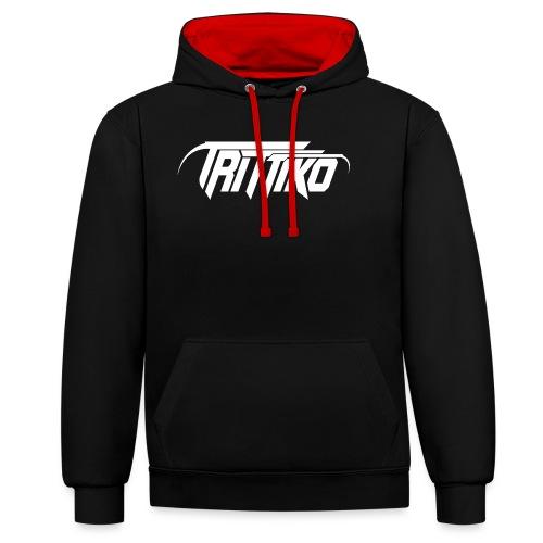 Trittiko Logo Weiss - Kontrast-Hoodie