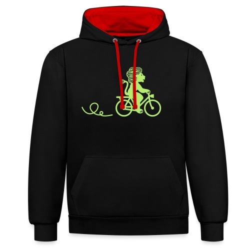 Züri-Leu beim Velofahren ohne Text - Kontrast-Hoodie