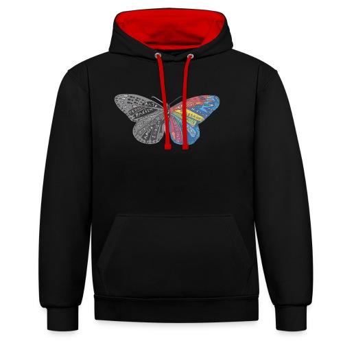butterfly effect - Kontrast-Hoodie