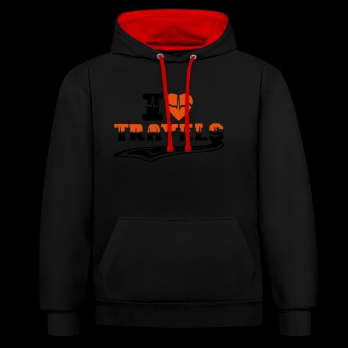 i love travels surprises 2 col - Contrast Colour Hoodie