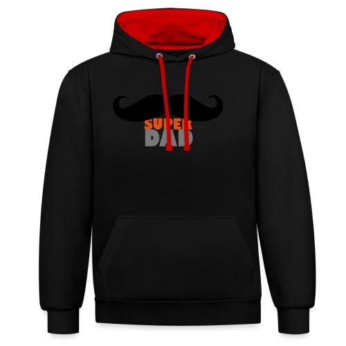 superdad moustache - Kontrast-Hoodie