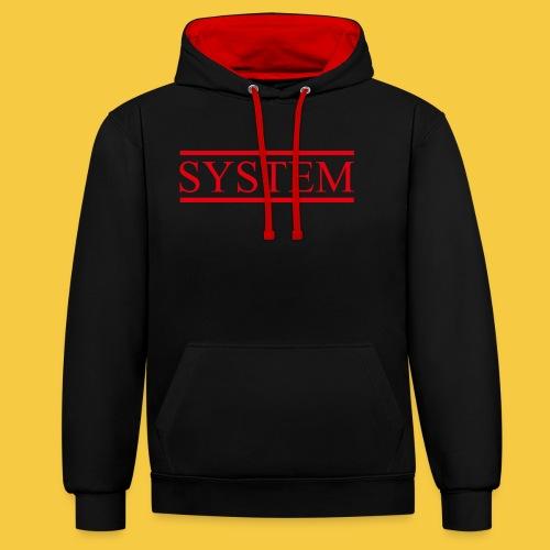SYSTEM Balken rot - Kontrast-Hoodie