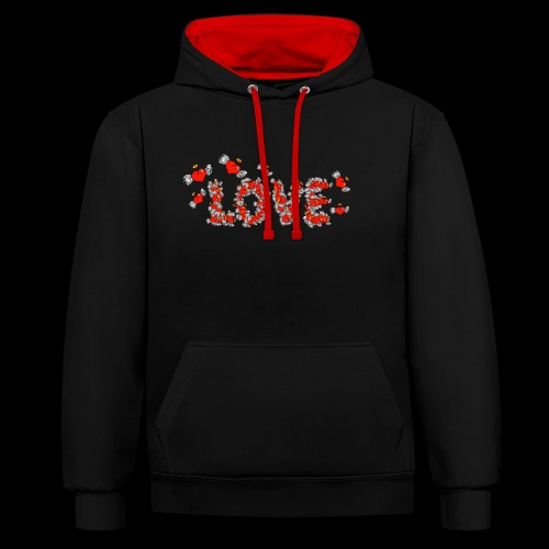 Flying Hearts LOVE - Contrast Colour Hoodie