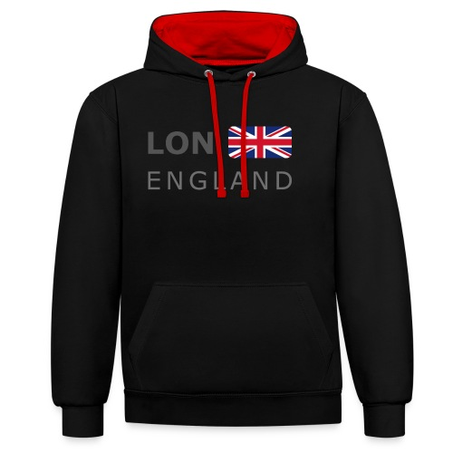 LON ENGLAND BF dark-lettered 400 dpi - Contrast Colour Hoodie