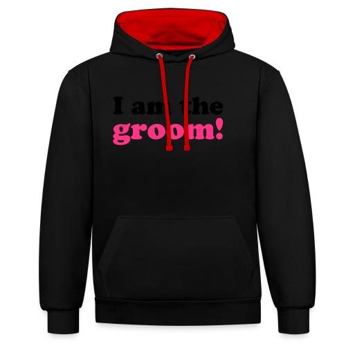 I am the groom! - Kontrast-Hoodie