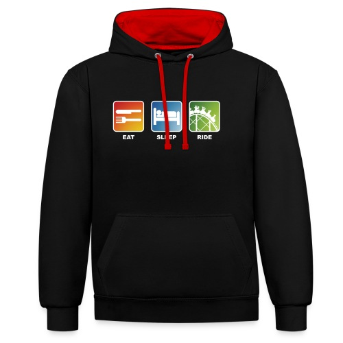 Eat, Sleep, Ride! - T-Shirt Schwarz - Kontrast-Hoodie