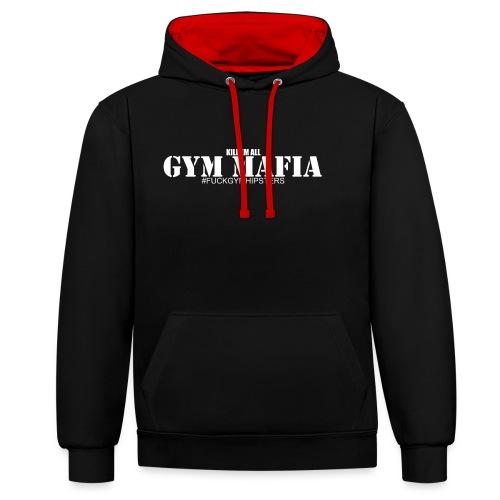 gym_mafia_white - Bluza z kapturem z kontrastowymi elementami