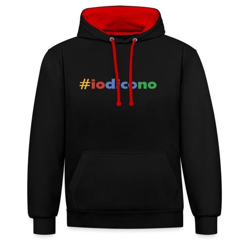 #iodicono - Felpa con cappuccio bicromatica