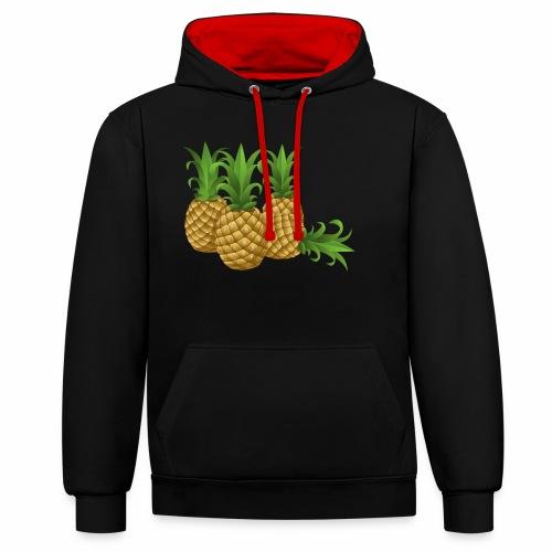 Ananas - Kontrast-Hoodie