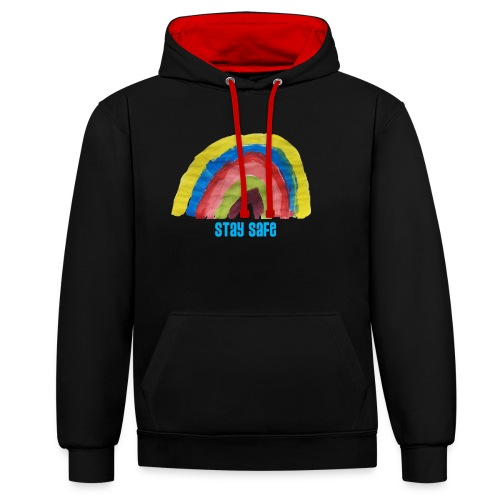 Stay Safe Rainbow Tshirt - Contrast Colour Hoodie