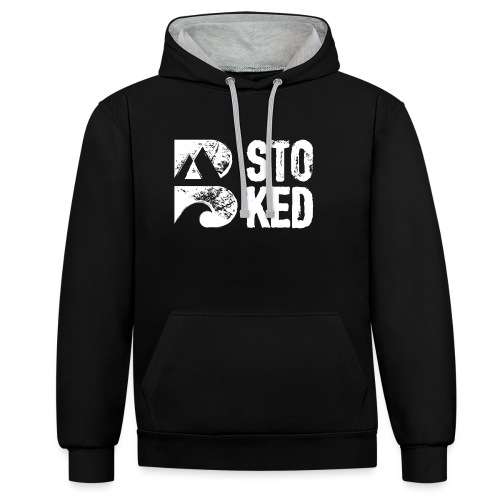bstoked logo white - Contrast Colour Hoodie