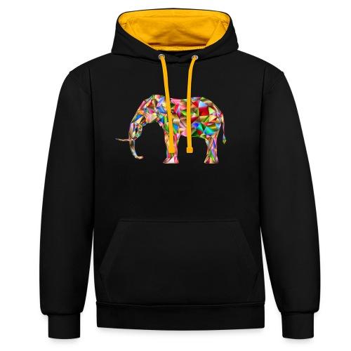 Gestandener Elefant - Kontrast-Hoodie