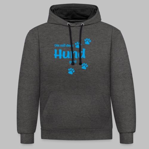 DIE MIT DEM HUND GEHT - BLUE EDITION - Kontrast-Hoodie