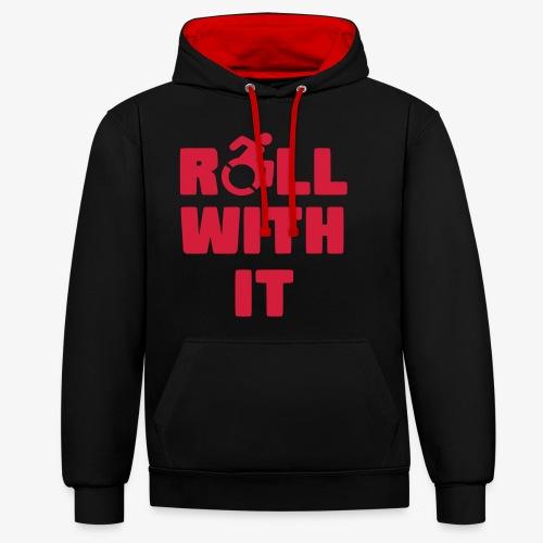 > Ik rol met mijn rolstoel, roller, gehandicapt - Contrast hoodie