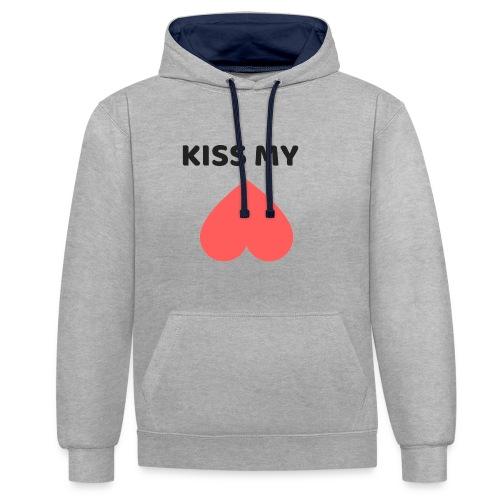 Kiss My Ass - Bluza z kapturem z kontrastowymi elementami