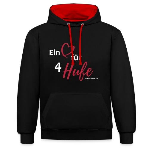 Ein Herz für 4 Hufe_Pfad - Kontrast-Hoodie