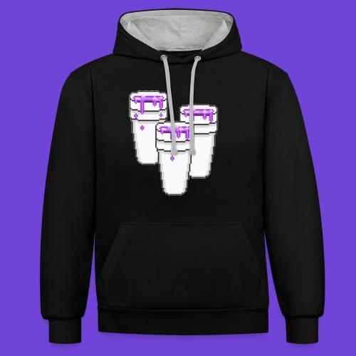 Purple - Felpa con cappuccio bicromatica