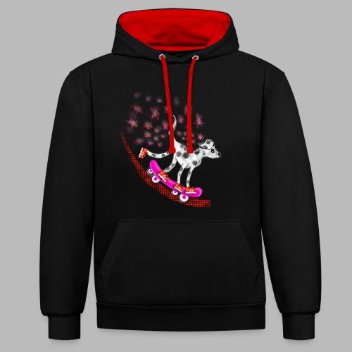 Spotty Skateboarder - Contrast Colour Hoodie