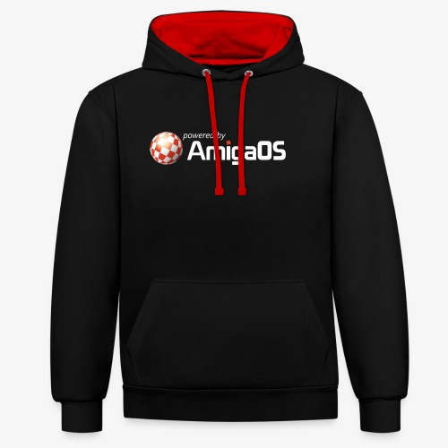 PoweredByAmigaOS white - Contrast Colour Hoodie