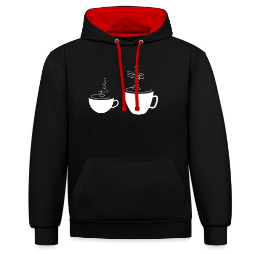 0255 coffee or tea | Best friends - Contrast Colour Hoodie