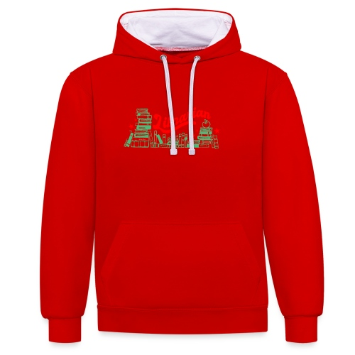 0322 Stack of books Librarian bookshelf - Contrast Colour Hoodie