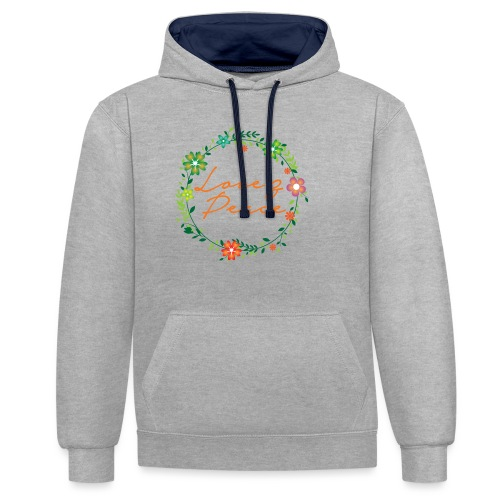Love and Peace - Contrast Colour Hoodie