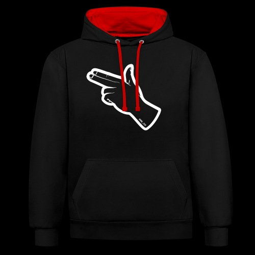 Gunfingers White - Contrast Colour Hoodie
