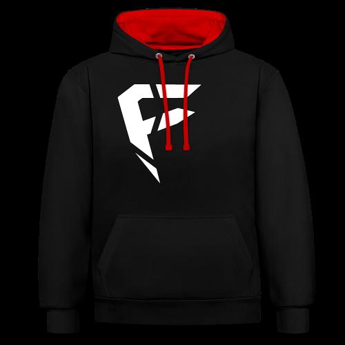 F Logo in Weiß - Kontrast-Hoodie