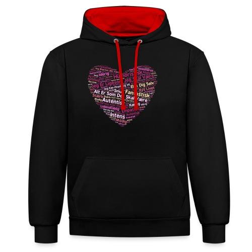 Hjerte - Kontrast-hættetrøje